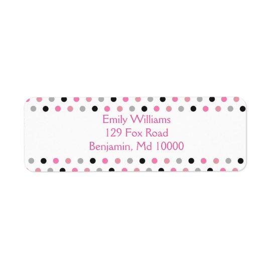 Pretty Pink grey and black polka dots Return Address Label