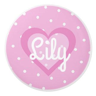 Pretty Pink Heart Ceramic Knob