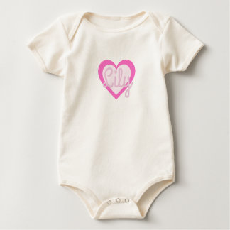 Pretty Pink Heart Customisable Baby Vest Baby Bodysuit