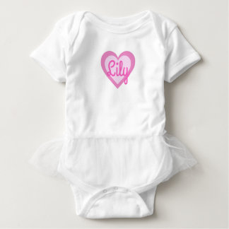 Pretty Pink Heart Customisable Tutu Vest Baby Bodysuit