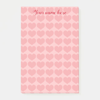 Pretty pink heart pattern post-it notes
