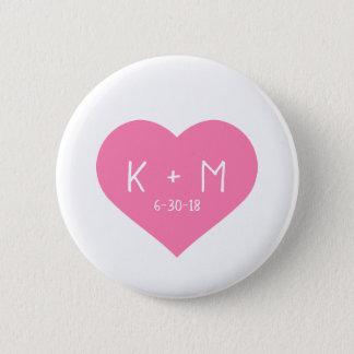 Pretty Pink Heart White Handwriting Initials Date 6 Cm Round Badge