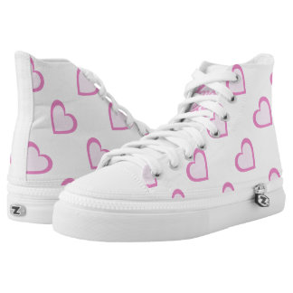 Pretty Pink Heart Zipz High Top Shoes