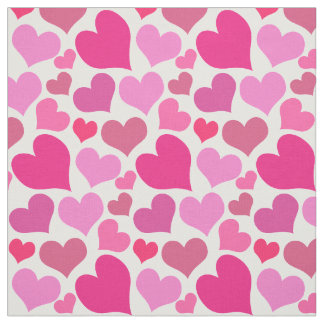 Pretty Pink Hearts Bursting With Love Fabric