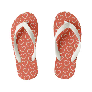 Pretty pink hearts on red kid's thongs