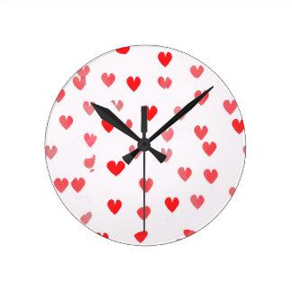 Pretty Pink Hearts Round Clock