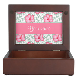 Pretty Pink Hibiscus Flowers Keepsake Boxes