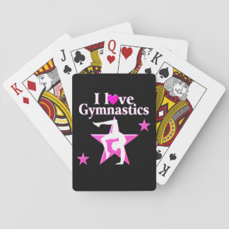 PRETTY PINK I LOVE GYMNASTICS DESIGN PLAYING CARDS