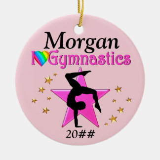 PRETTY PINK I LOVE GYMNASTICS PERSONALIZE ORNAMENT