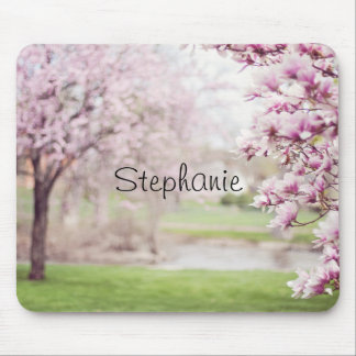 Pretty Pink Mongolia Tree Blossoms Personalized Mouse Pad