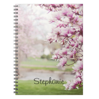 Pretty Pink Mongolia Tree Blossoms Personalized Notebook