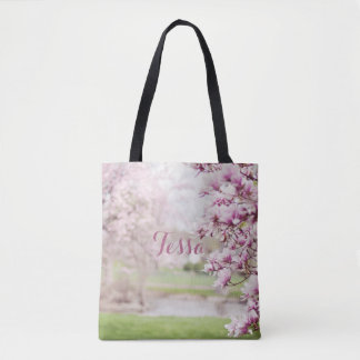 Pretty Pink Mongolia Tree Blossoms Personalized Tote Bag