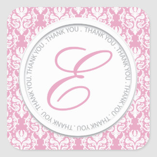 Pretty Pink Monogram Party Favor Stickers