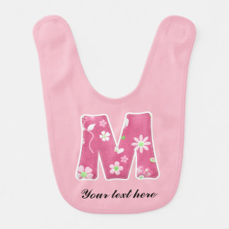 Pretty Pink Monogrammed Baby Bib with Flowers