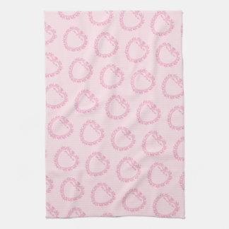Pretty Pink Ornate Hearts Tea Towel