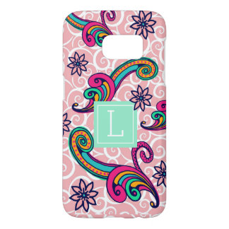 Pretty Pink Paisley Floral Monogram