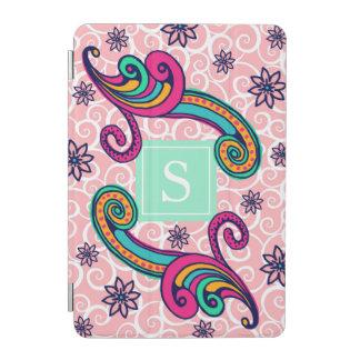 Pretty Pink Paisley Floral Monogram Mint Green iPad Mini Cover