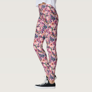 Pretty Pink Paisley Pattern Leggings