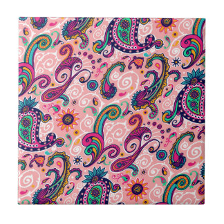 Pretty Pink Paisley Pattern Small Square Tile