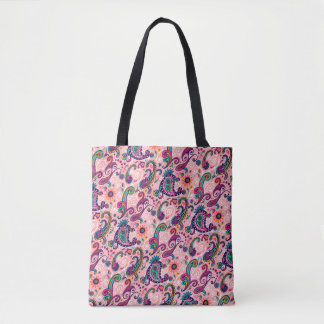 Pretty Pink Paisley Pattern Tote Bag