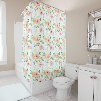 Pretty Pink, Peach and Yellow Watercolor Floral Shower Curtain