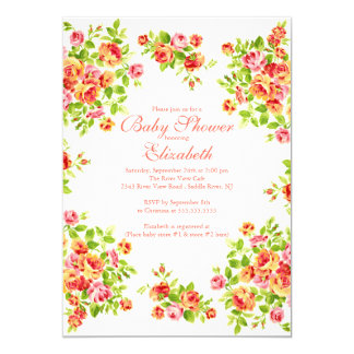 Pretty Pink Peach Rose Floral BabyShower Card