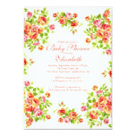Pretty Pink Peach Rose Floral BabyShower 5x7 Paper Invitation Card