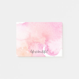 Pretty Pink Peach Watercolor Post-it Notes