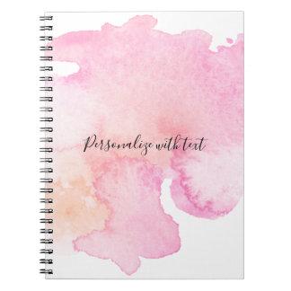 Pretty Pink Peach Watercolor Spiral Notebook