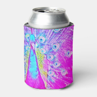 Pretty Pink Peacock Can Cooler Beer Sleeve