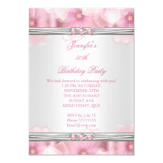 Pretty Pink Pearl White Flowers Birthday Party 2 13 Cm X 18 Cm Invitation Card