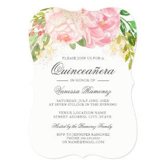 Pretty Pink Peonies Quinceañera Invitation