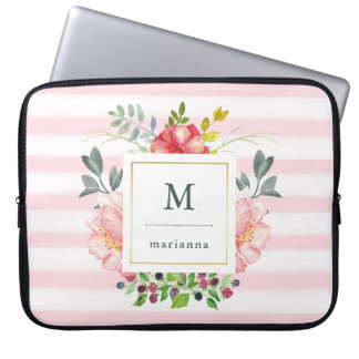 Pretty Pink Peony Watercolor Flowers with Stripes Laptop Sleeve