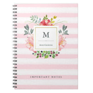 Pretty Pink Peony Watercolor Flowers with Stripes Notebook