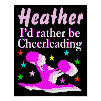 PRETTY PINK PERSONALIZED CHEERLEADING POSTER