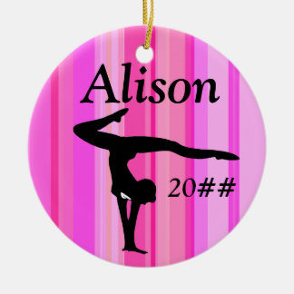 PRETTY PINK PERSONALIZED GYMNAST GIRL ORNAMENT