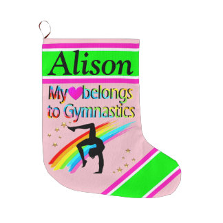 PRETTY PINK PERSONALIZED GYMNAST STOCKING