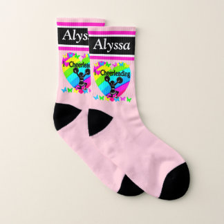 PRETTY PINK PERSONALIZED LOVED CHEERLEADING SOCKS 1