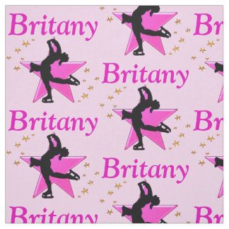 PRETTY PINK PERSONALIZED SKATER GIRL FABRIC