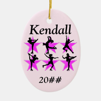 PRETTY PINK PERSONALIZED SKATER GIRL ORNAMENT