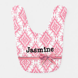 Pretty Pink Personalized with Bow Baby Bib