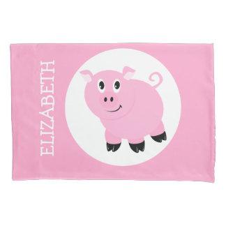 Pretty Pink Pig Kids Personalized Piggy Pattern Pillowcase