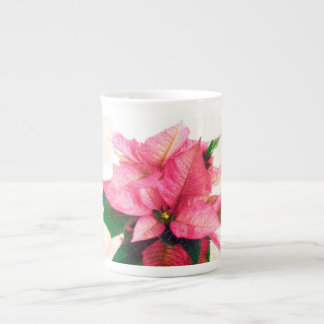 Pretty Pink Poinsettia Bone China Mug