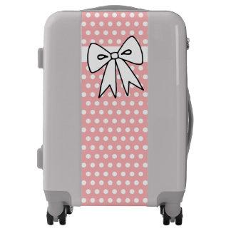 Pretty Pink Polka Dot Bow Luggage