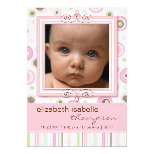 Pretty Pink Polka Dot & Stripes Baby Announcement