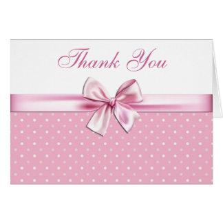 Pretty Pink Polka Dot Thank You Card