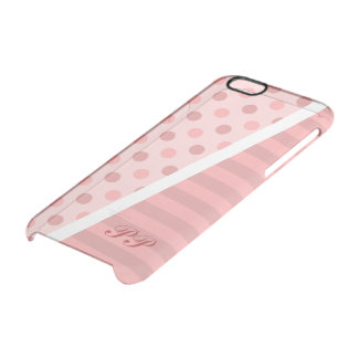 Pretty Pink Polka Dots and Stripes w/ Monogram Clear iPhone 6/6S Case