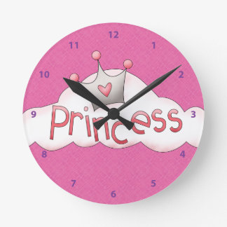 Pretty Pink Princess & Crown on Cloud Round Clock