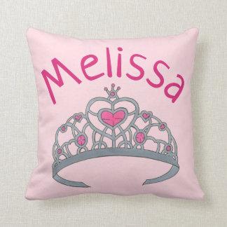 Pretty Pink Princess Tiara Crown Personalized Cushion