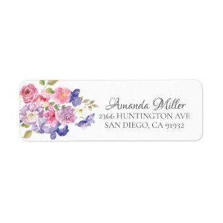 Pretty Pink & Purple Floral Return address Return Address Label